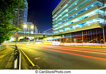 ville, moderne, autoroute, nuit