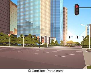 ville, moderne, beautifil, asphalte, plat, lumière, soleil, élevé, rue, trafic, gratte-ciel, fond, cityscape, horizontal, route
