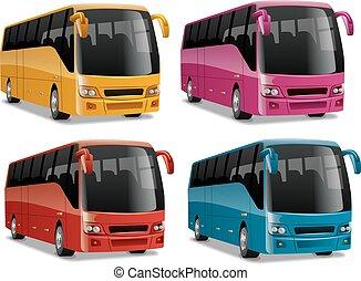 ville, moderne, confortable, autobus