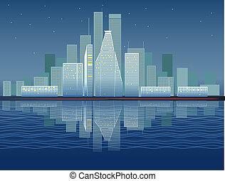 ville, moderne, district