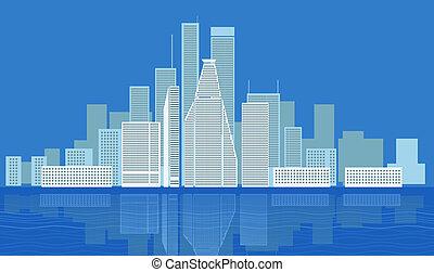 ville, moderne, district, illustration