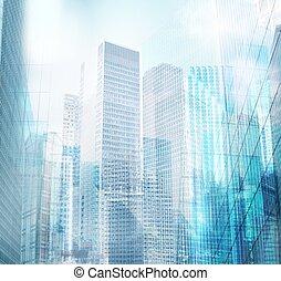 ville, moderne, fond