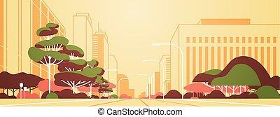 ville, moderne, gratte-ciel, urbain, panorama, personne, plat, lampes rue, route, fond, cityscape, horizontal, bannière, vide