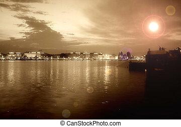 ville, moderne, night., panorama