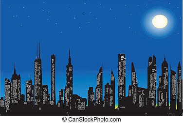 ville, moderne, nuit