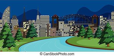 ville, moderne, scène, nuit