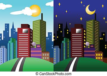 ville, moderne, vue, jour, nuit