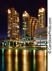 ville, moderne, vue, nuit