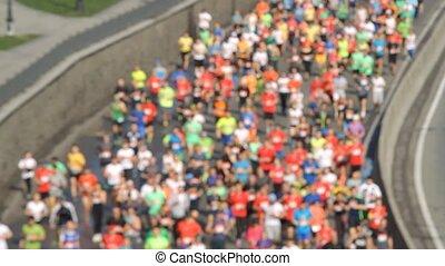 ville, moitié, marathon, brouillé