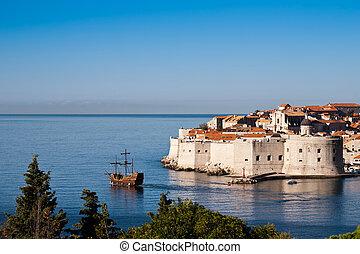ville, mondiale, vieux, dubrovnik, mer adriatique, héritage, europe