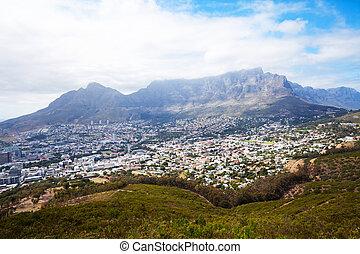ville, montagne, cityscape, table, cap
