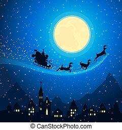 ville, montagne, voler, santa, sky., hiver, claus, salutation, fetes, clair lune, vecteur, reindeers, joyeux, fond, traîneau, noël, paysage, card.