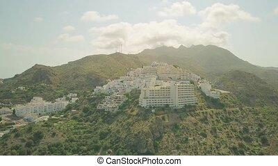 ville, montagneux, aérien, espagnol, petit, andalousie, vue