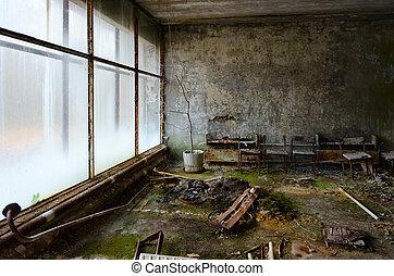 ville morte, no., abandonnés, hôpital, ukraine, mort, zone, chernobyl, 126, pripyat, npp, salle, exclusion