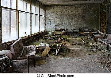 ville morte, no., abandonnés, puissance, zone), nucléaire, monde médical, ukraine, plante, pripyat, (chernobyl, 126, sanitaire, salle, unité, exclusion