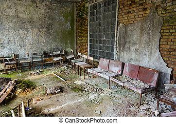 ville morte, no., abandonnés, zone, nucléaire, hôpital, ukraine, puissance, pripyat, exclusion, 126, chernobyl, salle, plante