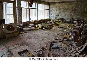 ville morte, no., pripyat, zone, hôpital, ukraine, mort, npp, aliénation, 126, salle, chernobyl
