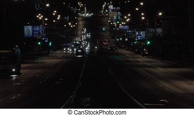 ville, moscou, trafic, nuit