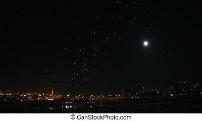 ville, mouches, beaucoup, sur, japonaise, nuit, lanterne