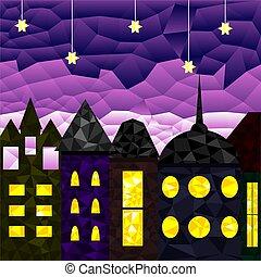 ville, moyen-âge, paysage, nuit