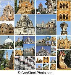ville, mumbai, collage, repères, inde, célèbre