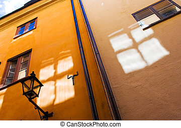 ville, murs, vieux, fenêtre, réflexions