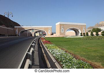 ville, muttrah, oman, portail, sultanat, muscat