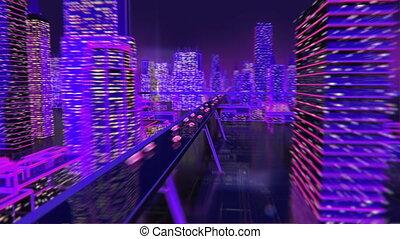 ville, néon, avenir, arrière-plan animation, lumières, ...