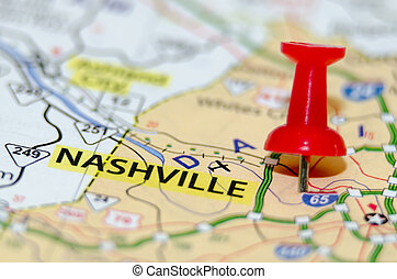 ville, nashville, épingle, carte