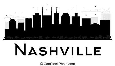 ville, nashville, silhouette., horizon, noir, blanc