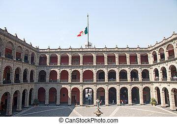 ville, national, palacio, mexique