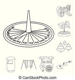 ville, nature, symbole, web., illustration, vecteur, collection, icon., paysage, stockage