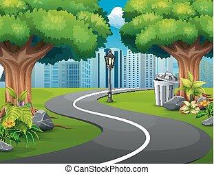 ville, naturel, route, vues