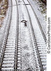 ville, neige, rails, couvert