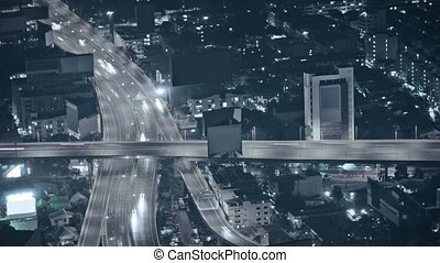 ville, night., au-dessus, vue