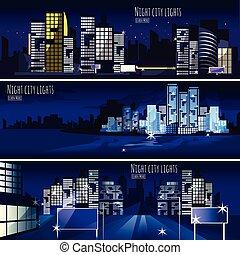ville, nightcape, 3, bannières, ensemble