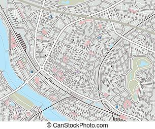 ville, n'importe quel, carte