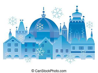 ville, noël, historique, hiver
