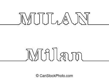ville, nom, italy., milan., ligne, contour