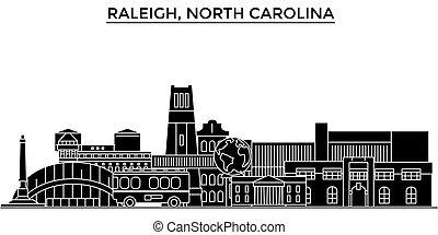 ville, nord, bâtiments, voyage, usa, vues, isolé, repères, raleigh, vecteur, architecture, fond, cityscape, horizon, caroline