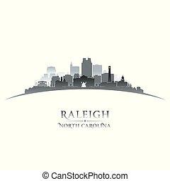 ville, nord, raleigh, fond, silhouette, blanc, caroline