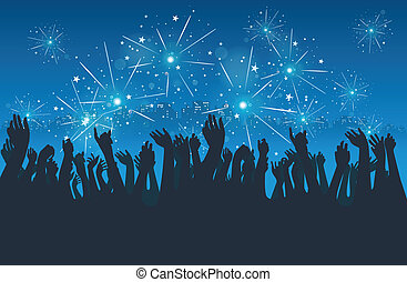 ville, nouvel an, fête