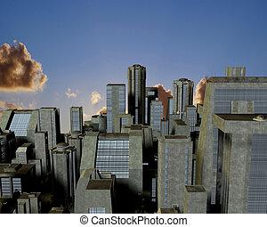ville, nuages, au-dessus