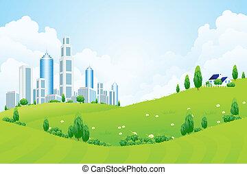 ville, nuages, paysage vert