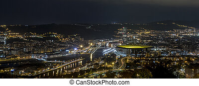 ville, nuit, bilbao
