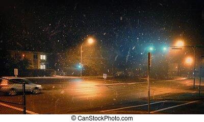 ville, nuit, chute neige, voitures