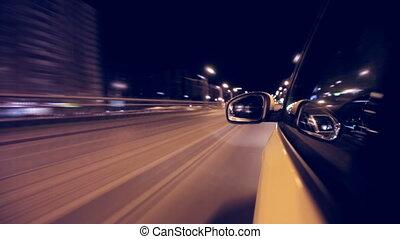ville, nuit, conduire, voiture