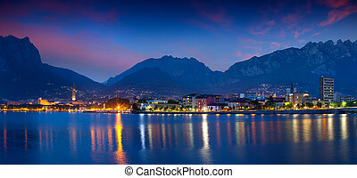 ville, nuit, lecoo., panorama