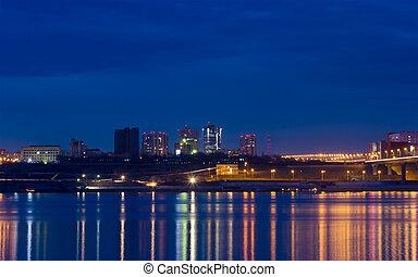 ville, nuit, lumières