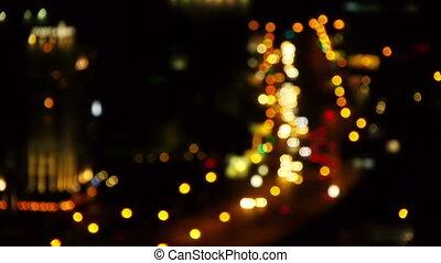 ville, nuit, novosibirsk, brouillé